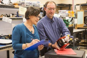 QA/RA Director, Vesna Janic, and ViVitro GM, Gerry Wight, review pump head in manufacturing.